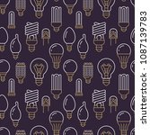 light bulbs seamless pattern... | Shutterstock .eps vector #1087139783