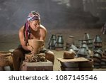 thai old man using mechanic... | Shutterstock . vector #1087145546