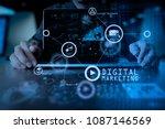digital marketing media ... | Shutterstock . vector #1087146569