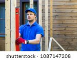 worker check the level of... | Shutterstock . vector #1087147208