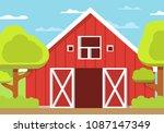 Rural Landscape Farm. Wooden...