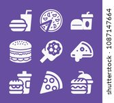 filled set of 9 fast food icons ... | Shutterstock .eps vector #1087147664