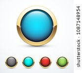 set of round gold buttons.... | Shutterstock .eps vector #1087148954