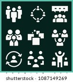 set of 9 group filled icons... | Shutterstock .eps vector #1087149269