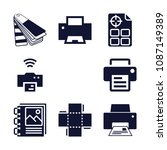 set of 9 print filled icons... | Shutterstock .eps vector #1087149389
