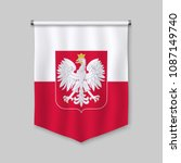 3d realistic pennant with flag... | Shutterstock .eps vector #1087149740