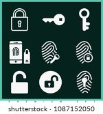 set of 9 lock filled icons such ... | Shutterstock .eps vector #1087152050
