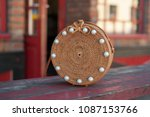 beautiful ladies straw handbag...   Shutterstock . vector #1087153766