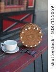 beautiful ladies straw handbag... | Shutterstock . vector #1087155059