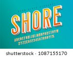 good vibes retro typeface. 3d... | Shutterstock .eps vector #1087155170