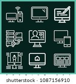 set of 9 monitor outline icons... | Shutterstock .eps vector #1087156910