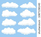 cartoon clouds isolated on blue ... | Shutterstock .eps vector #1087158140