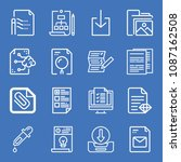 set of 16 file outline icons... | Shutterstock .eps vector #1087162508
