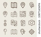 set of 16 location outline... | Shutterstock .eps vector #1087163696