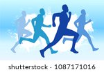 running race competition    Shutterstock .eps vector #1087171016