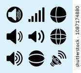 filled set of 9 volume icons... | Shutterstock .eps vector #1087174880