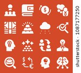 filled set of 16 business icons ... | Shutterstock .eps vector #1087177250