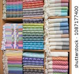 colorful turkish bath towels... | Shutterstock . vector #1087177400