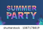 summer party colorful poster... | Shutterstock .eps vector #1087178819