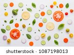 food pattern with raw... | Shutterstock . vector #1087198013
