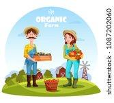 gardener man with box of plums... | Shutterstock .eps vector #1087202060