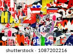 collage ripped torn posters... | Shutterstock . vector #1087202216