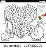 black and white cartoon... | Shutterstock .eps vector #1087203200