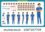 front  side  back view animated ... | Shutterstock .eps vector #1087207709