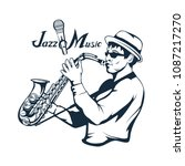 jazz player with saxophone....   Shutterstock .eps vector #1087217270