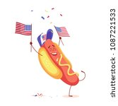 funny cartoon hot dog holding... | Shutterstock .eps vector #1087221533