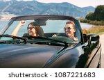 two female friends travel in... | Shutterstock . vector #1087221683
