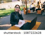 attractive business woman... | Shutterstock . vector #1087222628