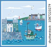 landscape of coastal sea town... | Shutterstock .eps vector #1087223279