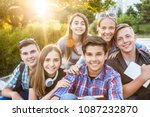 young  friends students with... | Shutterstock . vector #1087232870