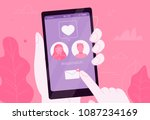 online dating couple in love in ... | Shutterstock .eps vector #1087234169