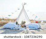 lovely romantic glamping for...   Shutterstock . vector #1087236290