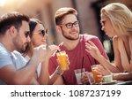 friends having a great time in... | Shutterstock . vector #1087237199
