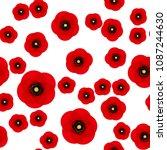 poppy seamless pattern. red... | Shutterstock .eps vector #1087244630