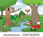 wildlife in the forest | Shutterstock .eps vector #1087263053
