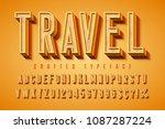 good vibes retro typeface. 3d... | Shutterstock .eps vector #1087287224