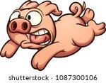 scared running pig. vector clip ... | Shutterstock .eps vector #1087300106