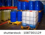 barrels of chemicals. chemistry.... | Shutterstock . vector #1087301129