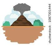 erupting volcano with landscape ...   Shutterstock .eps vector #1087301444