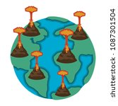earth planet with erupting...   Shutterstock .eps vector #1087301504