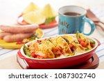 bread pudding food | Shutterstock . vector #1087302740