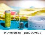 diy concept. sewing supplies ... | Shutterstock . vector #1087309538