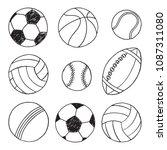 sport balls different kinds... | Shutterstock .eps vector #1087311080