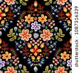 vector seamless embroidery... | Shutterstock .eps vector #1087316339