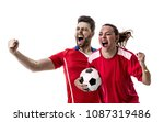 young couple fan in red uniform ... | Shutterstock . vector #1087319486