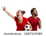 young couple fan in red uniform ... | Shutterstock . vector #1087319489